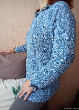 """Хлопковый женский свитер """"А ля джинс"""" ручной работы на заказ"""