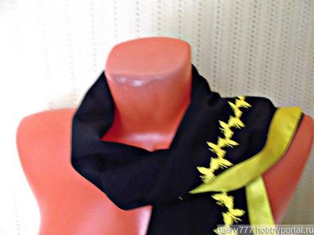 """Черный палантин ручной работы из ткани """"Желтые бабочки"""" ручной работы на заказ"""