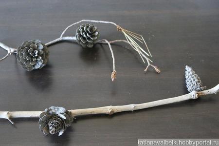 Ветки с шишками орешки дрифтвуд ручной работы на заказ