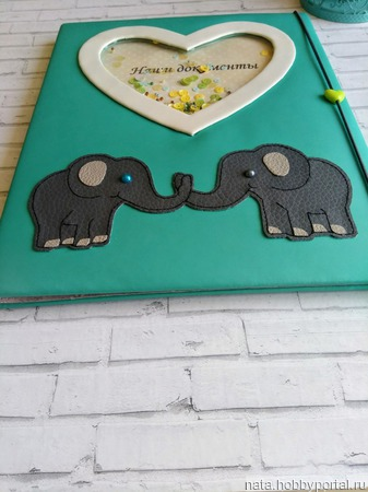"""Папка для документов """"Слоны"""" ручной работы на заказ"""