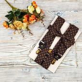 Набор галстук-бабочка и подтяжки широкие 3,5 см, оранжевый и синий