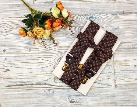 Набор галстук-бабочка и подтяжки широкие 3,5 см, оранжевый и синий ручной работы на заказ