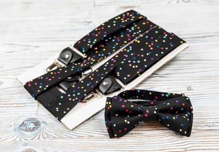 Галстук-бабочка и подтяжки 3,5 см, набор черный с конфетти ручной работы на заказ
