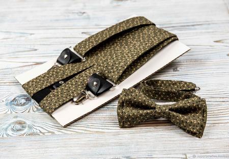Галстук-бабочка и подтяжки 3,5 см, набор оливковый в крапинку ручной работы на заказ