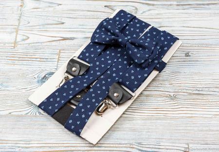 Галстук-бабочка и подтяжки 3,5 см, комплект синий с голубым рисунком ручной работы на заказ