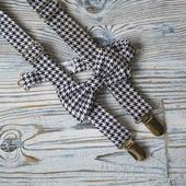 Комплект подтяжки и галстук-бабочка черная гусиная лапка