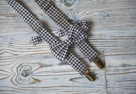 Комплект подтяжки и галстук-бабочка черная гусиная лапка ручной работы на заказ