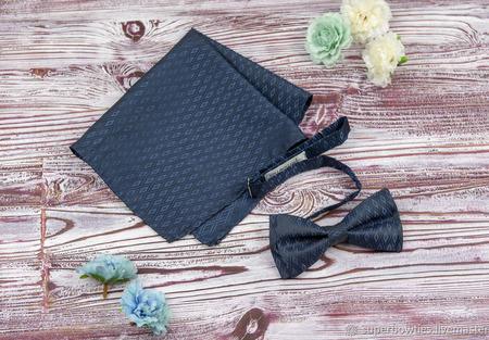 Набор бабочка и карманный платок-паше темно-синий ручной работы на заказ