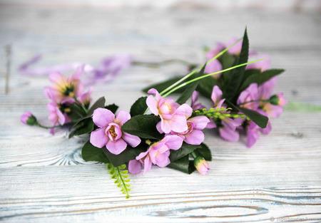 Венок на голову с сиреневыми цветами, орхидеи ручной работы на заказ