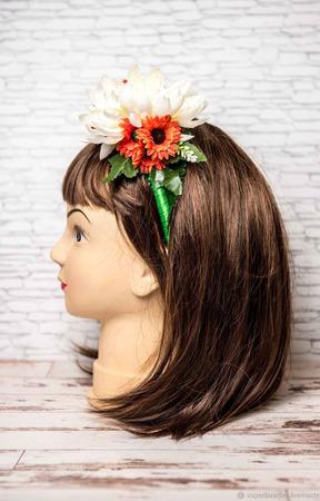 Ободок с хризантемой ручной работы на заказ