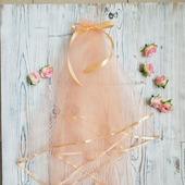 Фата для девичника персиковая
