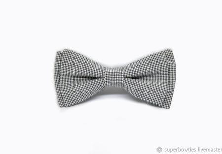 Галстук-бабочка серый, мелкая гусиная лапка ручной работы на заказ