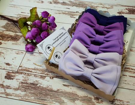 Галстуки-бабочки в фиолетовой гамме ручной работы на заказ
