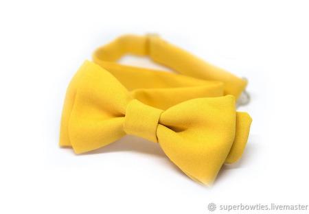 Галстук-бабочка желтый однотонный ручной работы на заказ