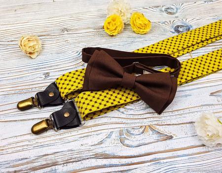Набор галстук-бабочка и подтяжки широкие 3,5 см горчичный и коричневый ручной работы на заказ