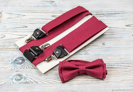 Галстук-бабочка и подтяжки шириной 3,5 см, комплект красный в точечку ручной работы на заказ