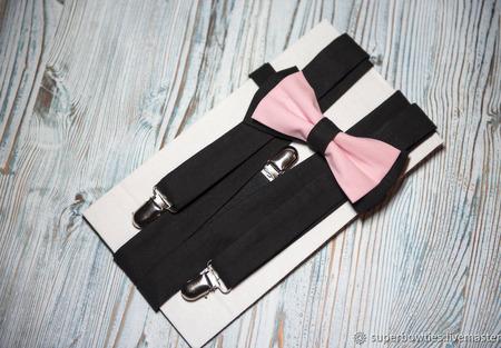 Подтяжки и бабочка розово-черный набор ручной работы на заказ