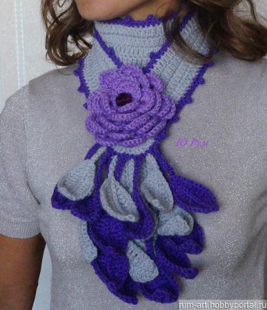 Шарф весенний Сиреневый цветок с брошью цветком ручной работы на заказ