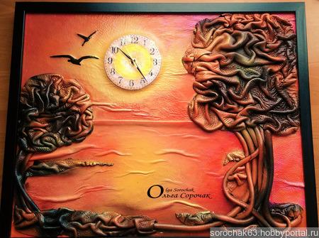 "Картина-часы  из кожи "" На закате"" ручной работы на заказ"