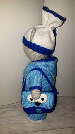 Вязаный мишка с сумкой ручной работы на заказ