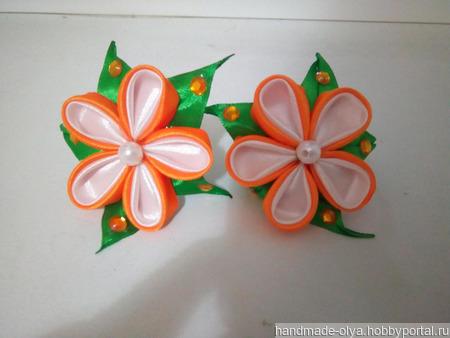Резиночки канзаши из атласной ленты ручной работы на заказ