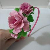 Ободок из фоамирана с весенними цветами