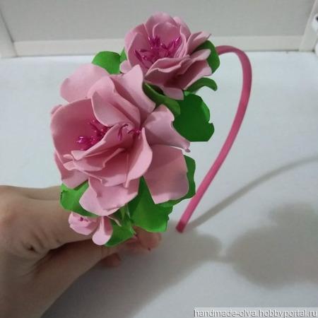 Ободок из фоамирана с весенними цветами ручной работы на заказ