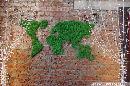 Карта мира из стабилизированного мха ручной работы на заказ