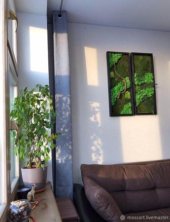 Картина Диптих из натурального мха 30/80 ручной работы на заказ