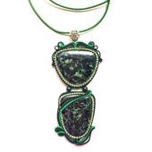 Кулон зеленый сутажный, украшение из натурального камня Галстук
