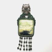 Кулон зеленый сутажный, подвеска украшение из натурального камня Суган