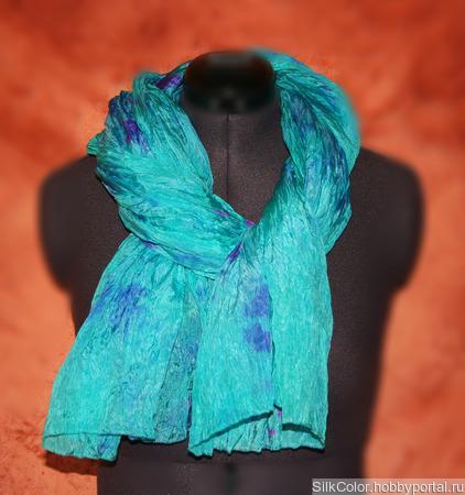 Шарф шёлковый изумрудный бирюзовый с фиолетовым ручное окрашивание ручной работы на заказ