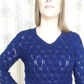 Темно-синий пуловер из полушерсти с люрексом