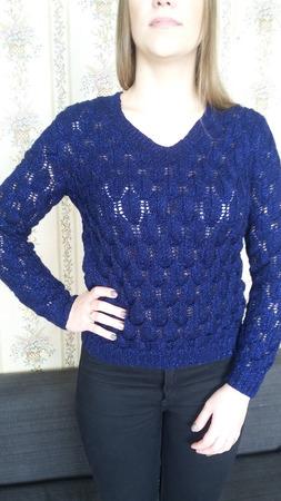 Темно-синий пуловер из полушерсти с люрексом ручной работы на заказ
