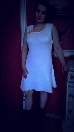 """Платье белое женское, связанное спицами """"Классика"""" ручной работы на заказ"""