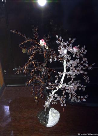 Инь-Янь деревья  из бисера ручной работы на заказ