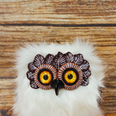 Игрушка Полярная сова в смешанной технике