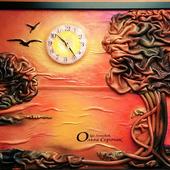 """Картина-часы  из кожи """" На закате"""""""