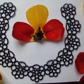 """Кружевной воротник """"Чёрные цветы"""""""