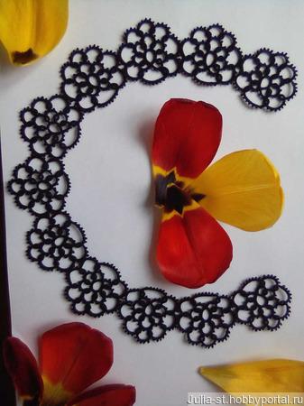 """Кружевной воротник """"Чёрные цветы"""" ручной работы на заказ"""