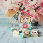 Шаблон в электронном виде корзинка с куклами Лол на 6 конфет Птичье молоко