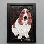 """Картина из кожи """"Милый, грустный пёс Амонд"""""""