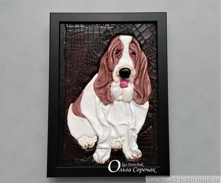 """Картина из кожи """"Милый, грустный пёс Амонд"""" ручной работы на заказ"""