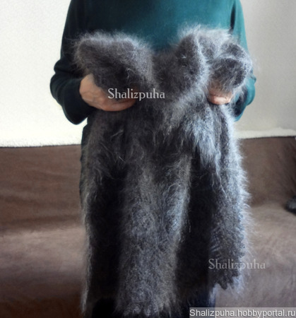 Пуховый платок серый ручной работы на заказ