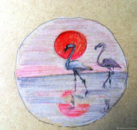 """Брошь """" Фламинго"""" ручной работы на заказ"""