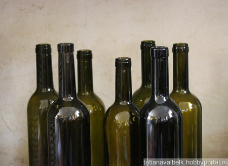 Бутылки стеклянные оливковые без этикеток в ассортименте ручной работы на заказ