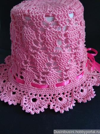 """Шляпка-панамка """"Листики"""" розовая ручной работы на заказ"""