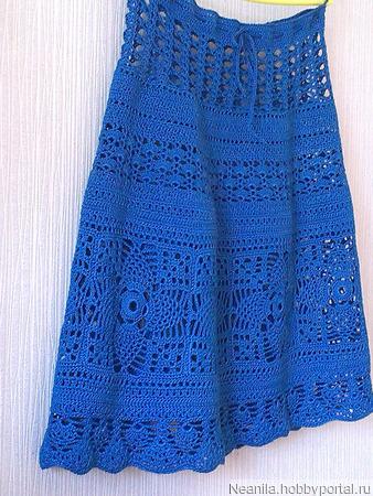 """Летняя юбка """"Синева"""" ручной работы на заказ"""