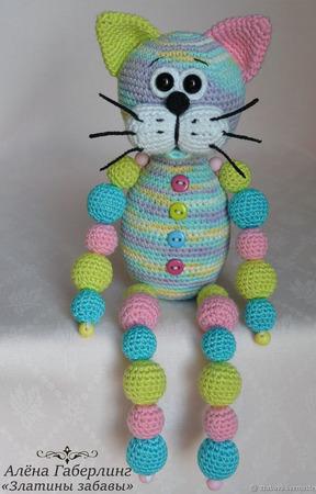 """Мастер-класс по созданию вязаной игрушки-погремушки """"Кот Кругляш"""" ручной работы на заказ"""