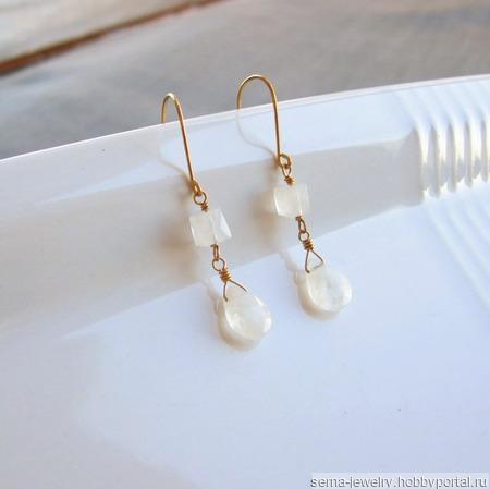 """Серьги """"Clarity bells"""" с адуляром в серебре или позолоте ручной работы на заказ"""